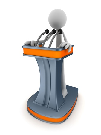 Abstract podium and men (done in 3d)