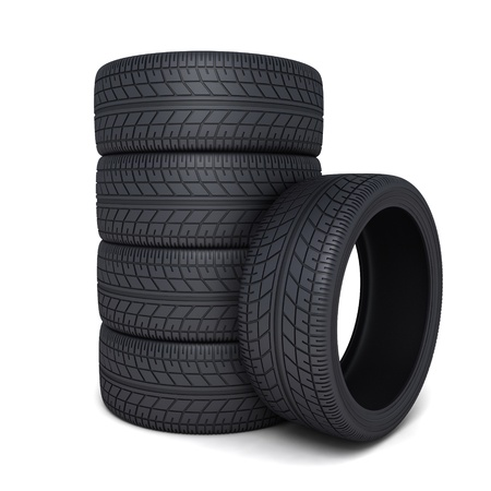Tire car on white background (done 3d)