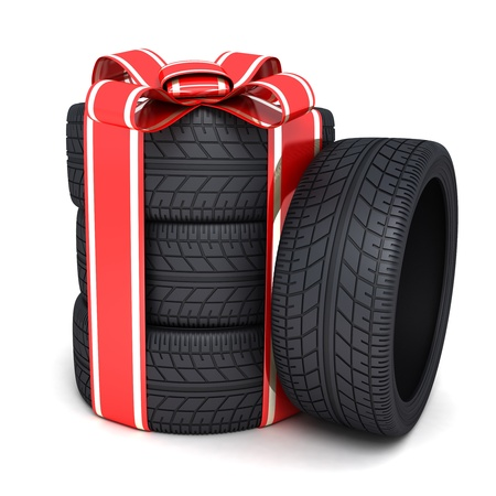 Gift tires and ribbon  done in 3d