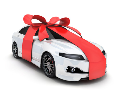 Photo pour Car and ribbon gift on white background (done in 3d rendering) - image libre de droit