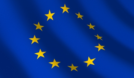 Flag Euro union and wave. 3d illustration