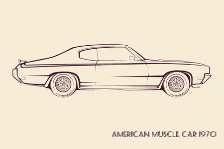 Illustration for American muscle car silhouette 70s vintage vector - Royalty Free Image