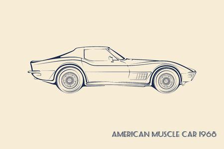 Ilustración de American muscle car silhouette 60s vintage vector - Imagen libre de derechos