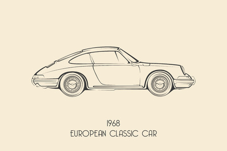 Illustration for Vintage european classic sports car silhouettes, outlines, contours. Vector illustration - Royalty Free Image