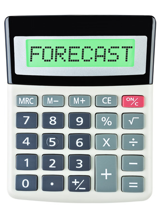 Calculator with FORECAST isolated on display on white background