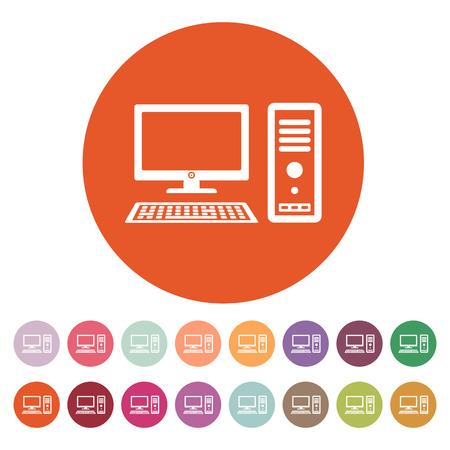 Ilustración de The computer icon. PC symbol. Flat Vector illustration. Button Set - Imagen libre de derechos