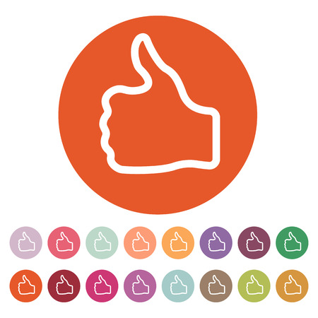 Ilustración de The thumb up icon. Like and yes, approve symbol. Flat Vector illustration. Button Set - Imagen libre de derechos