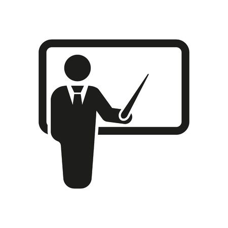 Illustration for The teacher icon. Training and presentation, seminar, learning symbol. Flat Vector illustration - Royalty Free Image