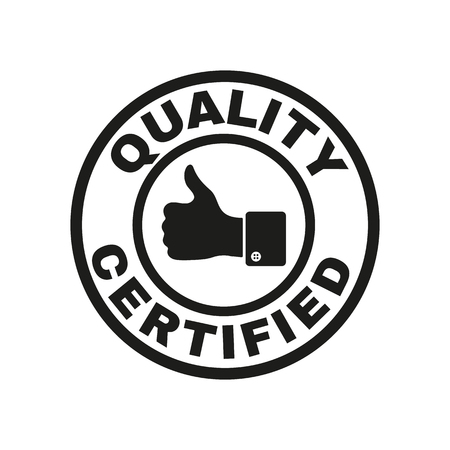 Illustration pour The certified quality and thumbs up icon.  Approval, approbation, certification, accepted symbol. Flat Vector illustration - image libre de droit