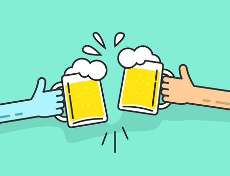 Illustration pour Two abstract hands holding beer glasses, beer glasses foam clinking, friends toasting, concept of cheering people party celebration in pub, flat outline art line design vector illustration isolated - image libre de droit