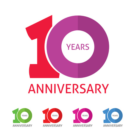 Ilustración de 10th anniversary  template with a shadow on circle number 1 one. 10 years anniversary icon. Ten years birthday party symbol. Tenth company sale sticker, badge, ribbon, poster,   emblem - Imagen libre de derechos