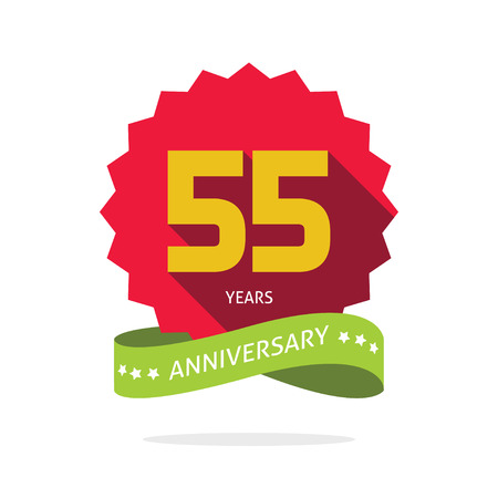 Illustration pour 55 years anniversary label , shadow on star, number 55 five, 55th years anniversary icon. Fifty five birthday party symbol. Fifty fifth promotion sale sticker ribbon, poster, emblem - image libre de droit