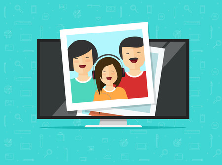 Illustration pour TV flat screen with photo cards vector illustration, flat cartoon computer lcd monitor or led television display showing photos, idea or media player, digital photography album gallery online - image libre de droit