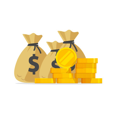 Vektor für Money vector, big pile or stack of gold coins and cash in bags, a lot of money isolated, idea of wealth, richness or success investment, treasure or rich prize, earnings or savings income flat cartoon - Lizenzfreies Bild
