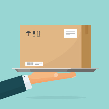 Ilustración de Courier deliver parcel box vector illustration, flat cartoon person hand holding carton package, concept of delivering service - Imagen libre de derechos
