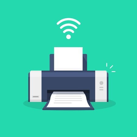 Illustration pour Printer icon with wifi wireless symbol or ink jet fax wifi print technology pictogram flat cartoon vector illustration isolated, modern design laser-jet clipart - image libre de droit