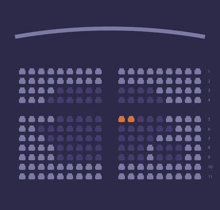 Cinema seats booking online ui design scheme or film theatre places reservation template layout vector flat cartoon violet dark illustration
