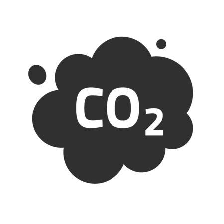 Illustration pour Carbon CO2 pollution emission cloud vector icon, dioxide smoke exhaust bubble flat symbol illustration design isolated on white background image clipart - image libre de droit
