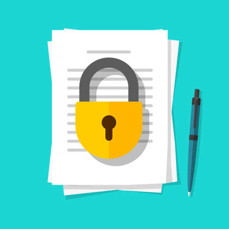 Illustration pour Secure confidential documents pile with locked access vector flat cartoon illustration, permission concept, paper sheet files with padlock protection and pen, private or privacy data info icon image - image libre de droit