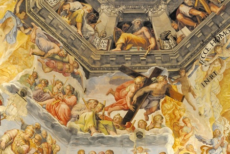 The Brunelleschi's dome in the cathedral of florence, italy. The murals were painted by Giorgio Vasari and Federico Zuccari