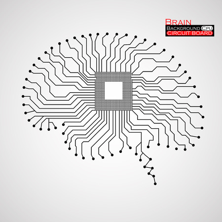 Brain. Cpu. Circuit board. Vector illustration. Eps 10