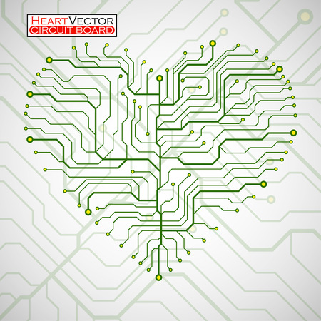 Valentine's background with circuit board on heart shape. Technology illustration.
