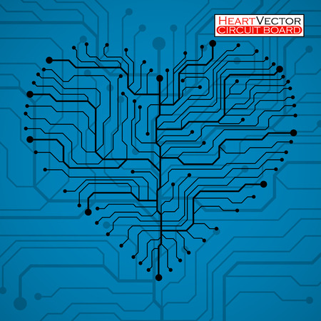 Valentine's background with circuit board on heart shape.