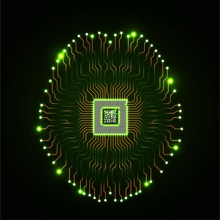 Illustration pour Abstract technological neon brain. Circuit board. Vector - image libre de droit