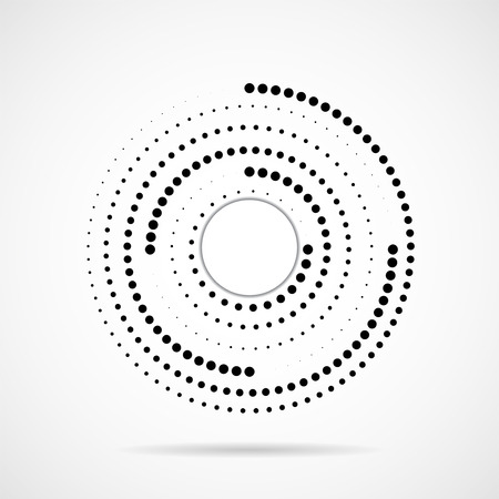 Illustration pour Abstract dotted circles, logo inside with shadow. Dots in circular form. Halftone effect - image libre de droit
