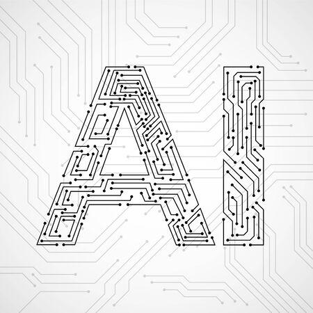 Ilustración de Artificial Intelligence with circuit board isolated on white background. Abstract technology concept. Vector illustration - Imagen libre de derechos