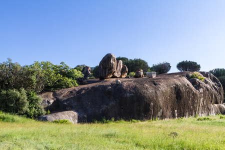 Cliffs on endless plain of Serengeti. Tanzania, Africa