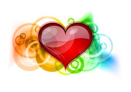 Photo pour Red heart on the rainbow background - image libre de droit