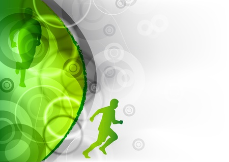 green background with the runner
