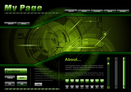 webpage template in the green and dark
