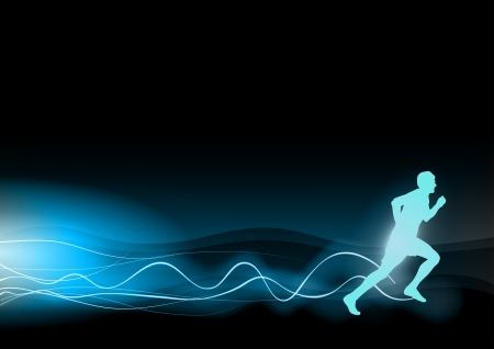 Ilustración de blue shining runner on the black background - Imagen libre de derechos