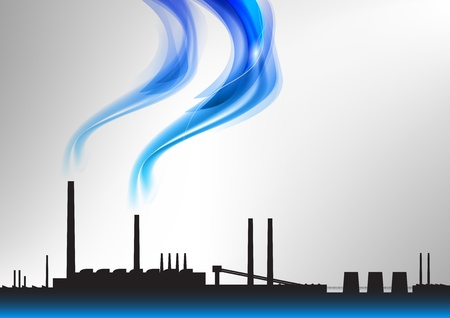 factory with the blue smoke