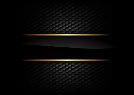 Illustration pour black stripe with gold border on the dark background - image libre de droit