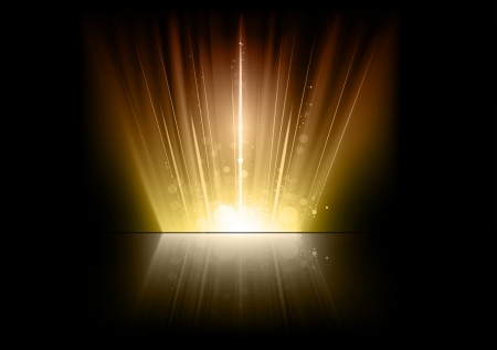 gold flares on the dark space