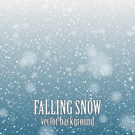 falling snow on the blue background - vector image