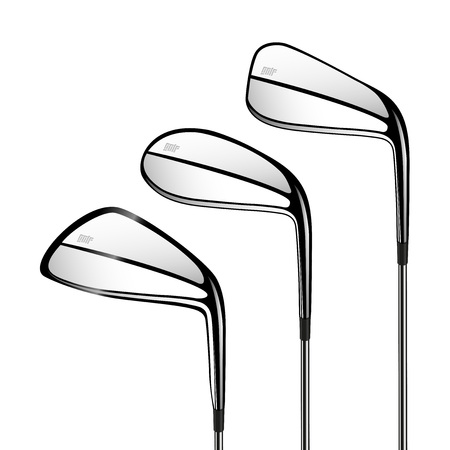 Golf sticks isolated on the white. Vector sport items as design elements.