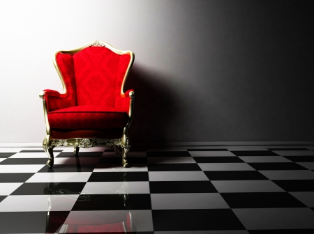 this is an interior design with a classic elegant red armchair on the black and white floor