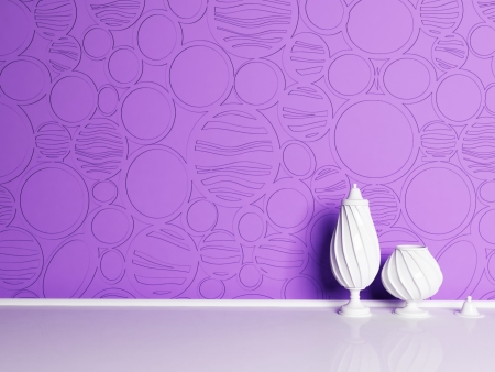 Interior design scene with the vases