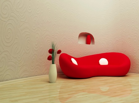 this is a modern interior with a red sofa and a vase