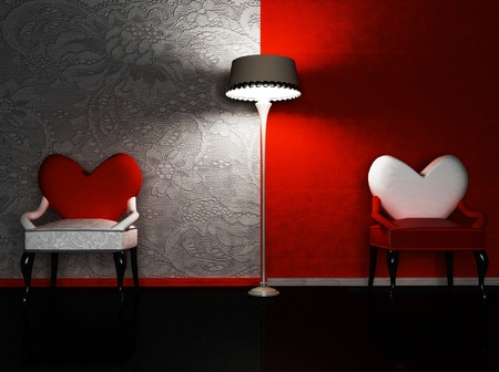 this is a romantic interior with two chairs and a lamp, rendering