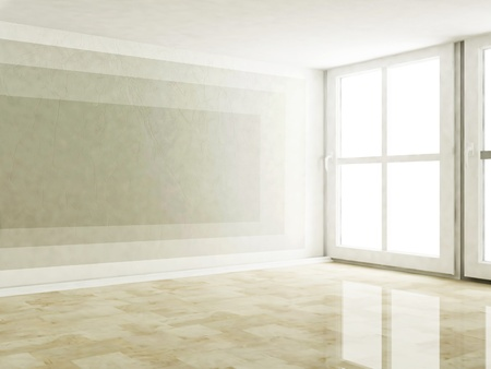 Foto de empty room with the large windows - Imagen libre de derechos