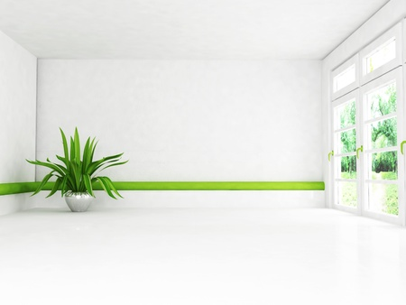 Interior design scene with the plant and the window