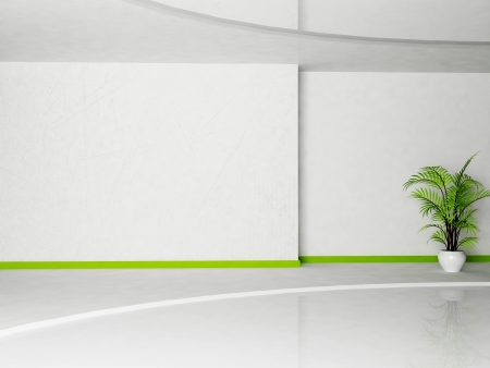 Interior design scene of living room with a plant