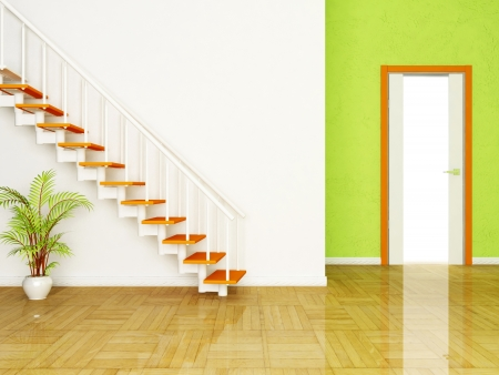 Interior design scene with a plant and the stairs, the door