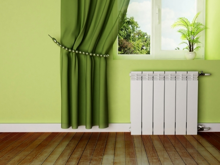 interior design scene with a radiator and a window