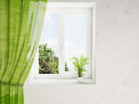 Foto de interior design scene with a plant on the window - Imagen libre de derechos
